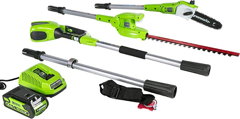 Greenworks 8 Inch 40V Cordless Pole Saw With Hedge Trimmer Attachment 2 0 AH Battery Included PSPH40B210