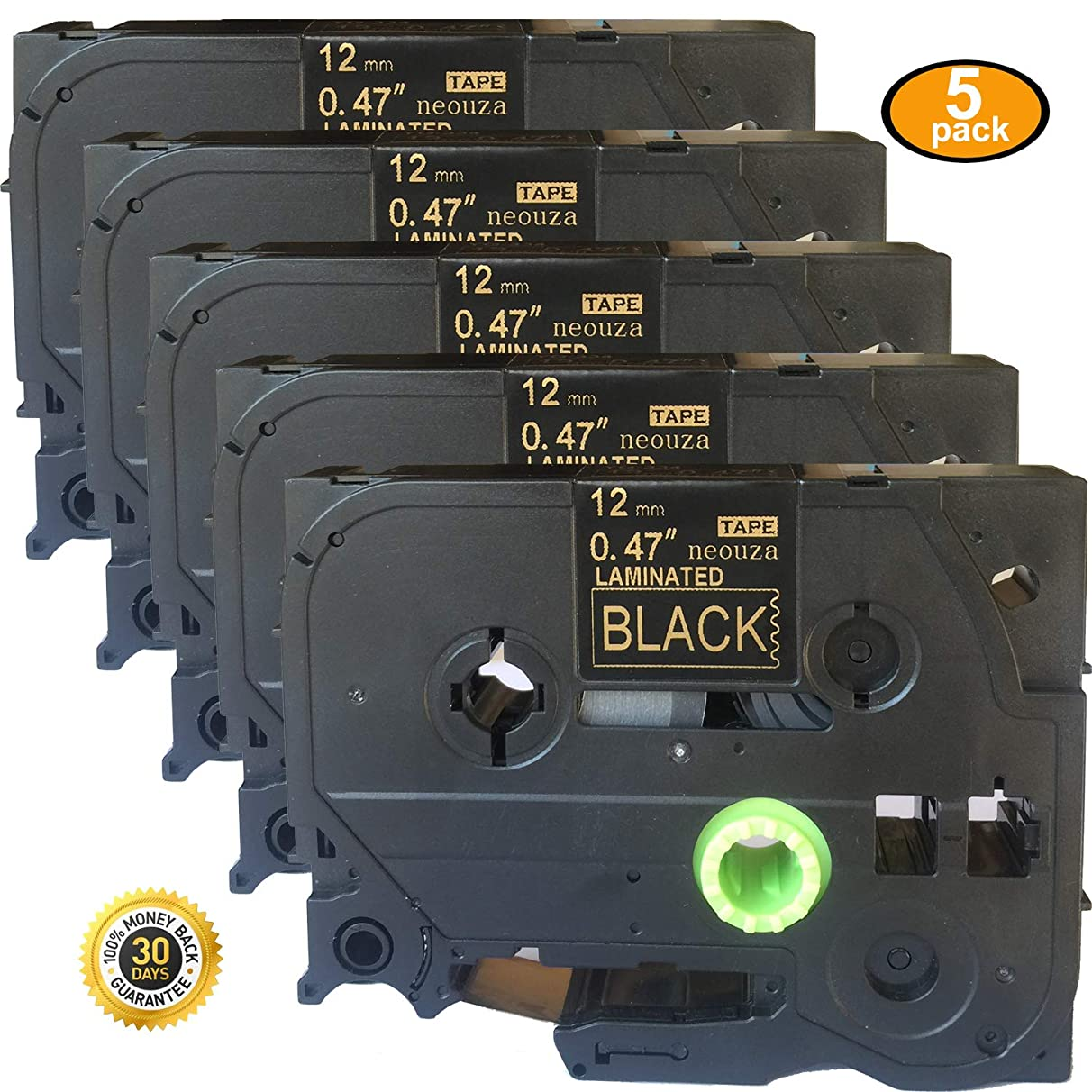 NEOUZA 5PK Great Quality Compatible for Brother P-Touch Laminated Tze Tz Label Tape Cartridge 12mmx8m (TZe-334 Gold on Black)