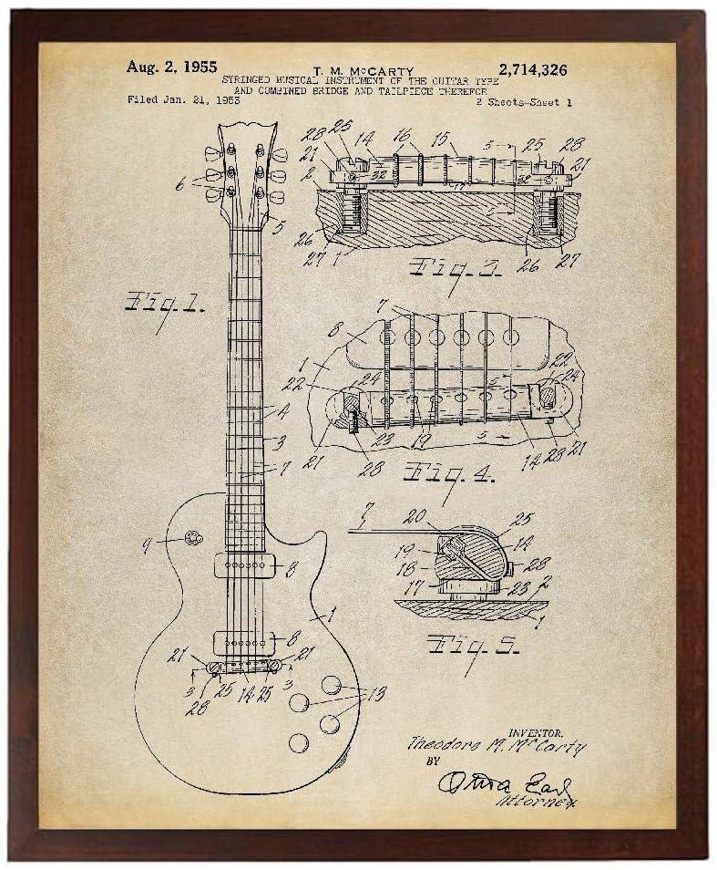 Turnip Designs Gibson Les Paul Guitar Patent Poster Art Print Décor Guitar Art Guitar Player Gift Electric Guitar TNP3