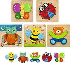 HZONE Wooden Jigsaw Puzzles for Toddlers 1 2 3 Years Old, (5 Pack) Early Educational Toys Gift for Boys and Girls with 5 Cute Patterns, Bright Vibrant Color Shapes wooden toy-03