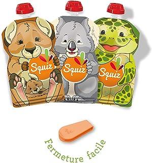 SQUIZ - FABRICATION SUISSE - Lot de 3 Gourdes Rechargeables et Réutilisables 130ml Sans BPA + Squiz'zip - Pour Compotes, P...