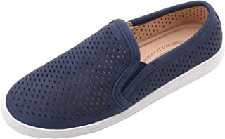 Ashley A Collection EMERLY Women Canvas Slip On Laser Cut Fashion Sneakers,