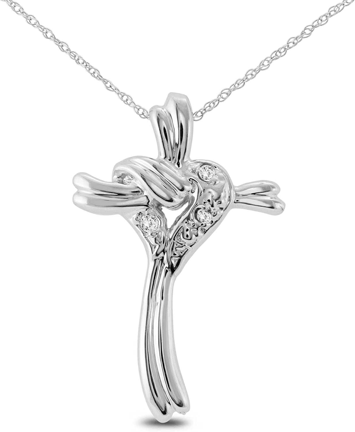 AGS Certified Classic Heart and Cross Diamond in 10K Pendant White It is very popular Gold