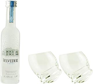 Geschenkidee Belvedere Minis | Belvedere Mini  2 extravagante, handgefertigte Gläser | Polnischer Wodka | 0,05 Liter