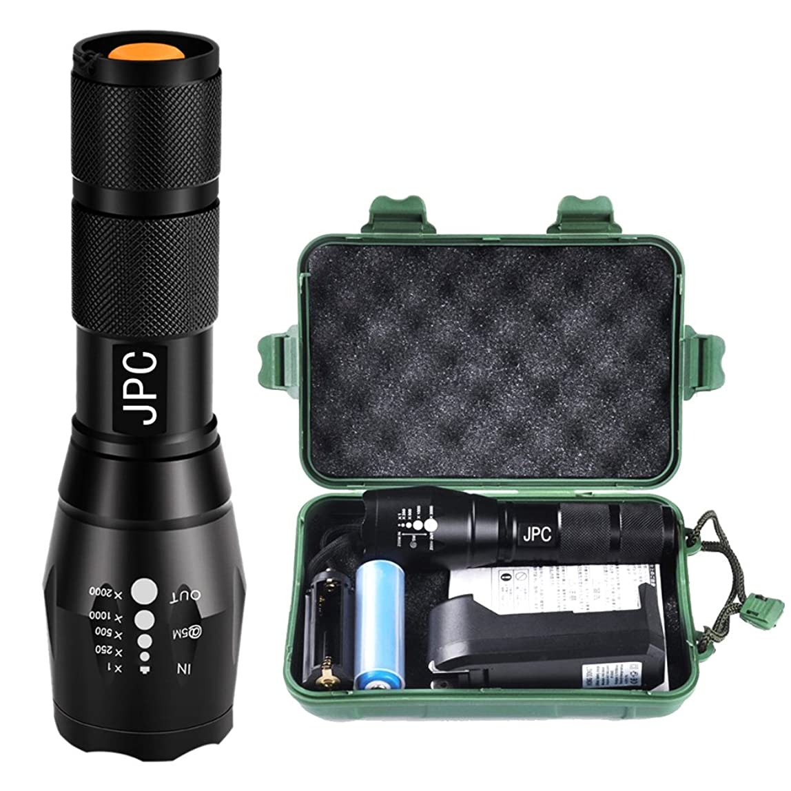 相手エンドウ黒板T6 LED 超明るい 懐中電灯 ハンディライト 防災 常備ライト 1000ルーメン 【JPC】 バッテリーと充電器が付属