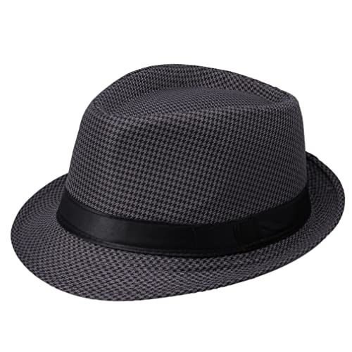 aad78fd529e246 La Vogue Trilby Hat with Band Houndstooth Jazz Cap Gangster Hat