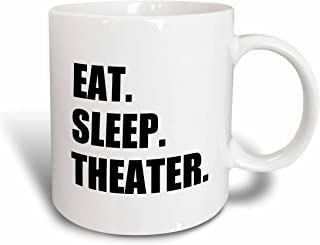 3dRose mug_180450_1 Eat Sleep Theater Black Text Drama Club Addict Actor Play Acting Ceramic Mug, 11-Ounce