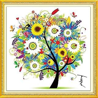 (Summer) - DIY Cross Stitch Kits Handmade Needlework Embroidery Kits Colourful Tree Home Decoration Summer Season