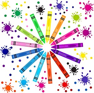 192 Pieces Crayon Wall Decals Splatter Wall Sticker and Multicolor Paint Wall Decals Crayon Splotches Polka Dot Nursery Decors Sticker for Home Nursery Classroom School Wall Decoration