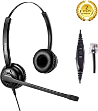 Telephone Headset Office Landline Phone Headset Call Center Headphone Wired RJ9 Headsets with Noise Cancelling Microphone for Avaya Nortel