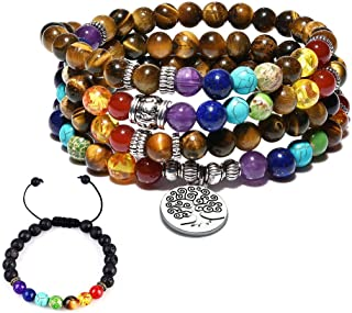Cat Eye Jewels 6mm 8mm Turquoise Tiger Eye 108 Prayer Mala Beads 7 Chakra Long Beaded Necklace Yoga Meditation Lava Rock Bracelet for Men Women