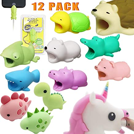 Charging Cable Protectors for iPhone Animal bite 12PCS Cable buddies bites for iPhone Andorid phone charger