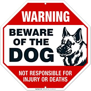 Beware of Dog Sign German Shepherd, Dog Warning Sign, 12x12 Octagon Rust Free Aluminum,Weather/Fade Resistant, Easy Mounting, Indoor/Outdoor Use, Made in USA by SIGO SIGNS