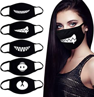 YAKA 5 Pack Unisex Black Cute Teeth Pattern Mask for Man and Woman to Go Outside, Made of 100% Cotton Anti Dust Face Mouth Mask(Combination1)