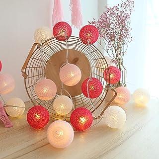 Guirlande Lumineuse Boule Coton, Interieur Decoration Noël Deco, 3.5M 20er LED Globe Light, Fille, Princesse, Enfant, Beb...