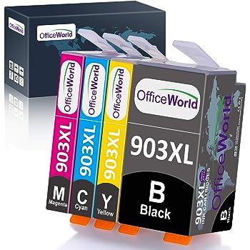 OFFICEWORLD 903XL Compatibile Cartucce d'inchiostro Sostituzione per HP 903XL 903 Multipack per HP OfficeJet 6950 6960 6970, Dotate dell'ultimo Chip, Confezione da 4 (Nero, Ciano, Magenta, Giallo)