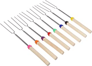 Donschwan Marshmallow Roasting Sticks Set of 8 Stainless Steel Telescoping Hot Dog Forks and Smores Skewers That Rotate and Extend 32