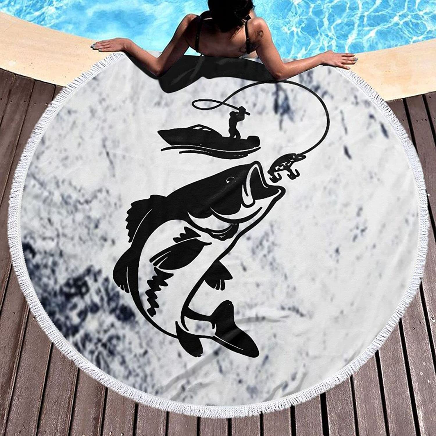 Fishing Recommended Fisherman Fish Boat Personalized In favorite 59 Beach Towel Round