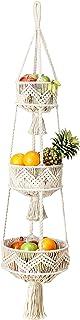 Folkulture 3 Tier Hanging Fruit Basket for Kitchen, Macrame Hanging Basket for Fruit and Vegetable Storage, Woven Wall Bas...