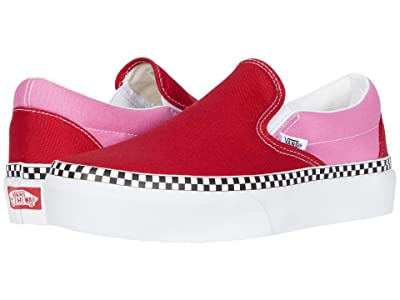 Vans Classic Slip-On Platform ((Two-Tone) Chili Pepper/Fuchsia Pink) Slip on Shoes