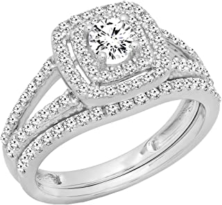 Dazzlingrock Collection 1.00 Carat (ctw) 10K Gold Round Diamond Split Shank Halo Engagement Ring Set 1 CT