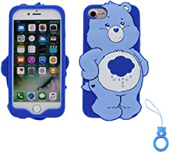 Artbling Case for iPhone 7 Plus 8+,Silicone 3D Cartoon Animal Cover,Kids Girls Cool Lovely Cute Cases,Kawaii Soft Gel Rubber Unique Character Protector+Finger Ring for iPhone7 8Plus (Rain Bear)