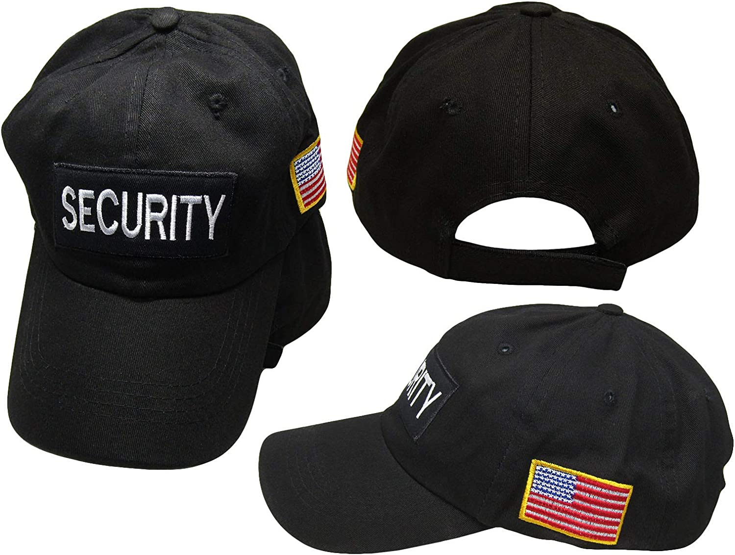 Security Official Black Patch USA Flag On Side Embroidered Baseball Hat Cap (RUF)