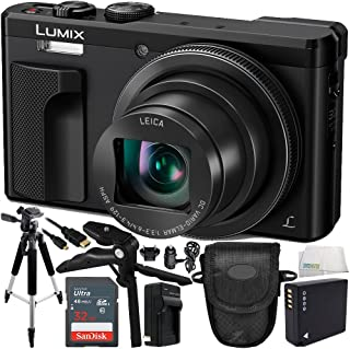 Panasonic Lumix DMC-ZS60 Digital Camera (Black) 16GB Bundle 10PC Accessory Kit Includes SanDisk 16GB Extreme SDHC Memory Card + Replacement Battery + More - International Version (No Warranty)