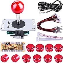 Quimat DIY Arcade Game Button and Joystick Controller Kit for Rapsberry Pi and Windows,5 Pin Joystick and 10 Push Buttons