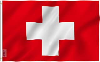 Anley Fly Breeze 3x5 Foot Switzerland Flag - Vivid Color and UV Fade Resistant - Canvas Header and Double Stitched - Swiss Flags Polyester with Brass Grommets 3 X 5 Ft