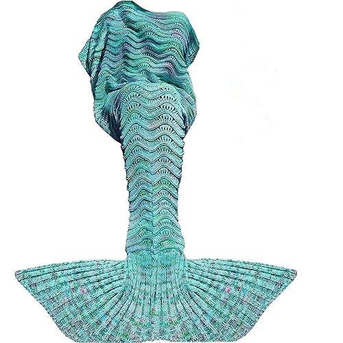 Fu Store Mermaid Tail Blanket Crochet For Adult Super Soft All Seasons Sofa
