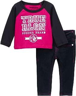 Baby Girls Raglan Long Sleeve Tee & Jeans Outfit, Fuschia