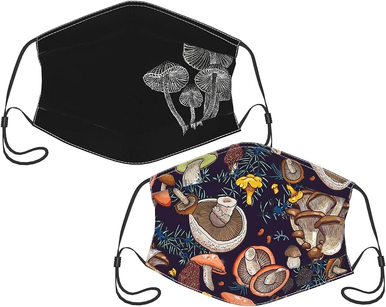 Mushroom 2pcs Face Mask Reusable and Adjustable Washable Scarf Bandanas Balaclava for Adult Mushroom mask with 2 Filters
