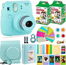 Fujifilm Instax Mini 9 Instant Camera + Fuji Instant Film (40 Sheets) + Accessories Bundle - Carrying Case, Color Filters, Photo Albums, Assorted Frames, Selfie Lens plus more (Ice Blue)