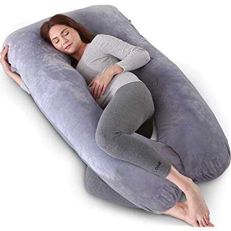 U Shaped Full Body Pillow AS AWESLING Pregnancy Pillow Support and Maternity Pillow for Pregnant Women with Removable Velvet Cover Grey Nursing