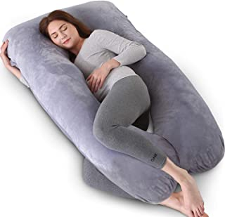 Kingta Pregnancy Pillow U Shaped Full Body Pillow with Washable Velvet Cover - 57 inches Maternity Pillow for Pregnant Women - Support Head, Back, Shoulder, Hips, Legs and Belly (Gray)­