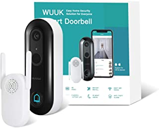 WUUK Smart Doorbell (Battery-Powered) Wireless Video Security Camera No Monthly Fee, Human Detection, 2-Way Audio, Simple ...