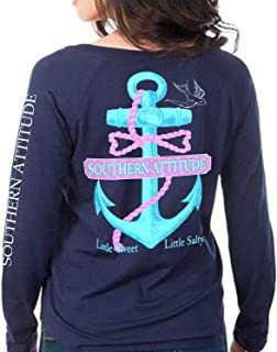 Southern Attitude Salty Anchor Navy Blue Preppy Long Sleeve Shirt