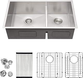 Amazon Com Double Bowl Kitchen Sinks Farmhouse Apron Front Double Bowl Kitchen Sinks Tools Home Improvement