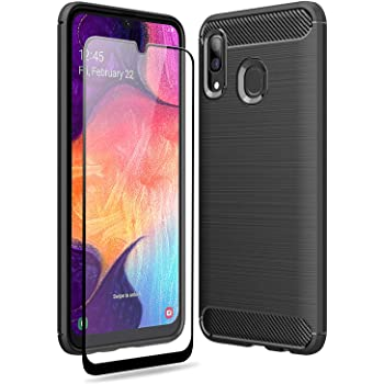 Dual Layer Rugged Heavy Duty Cover Shockproof Tempered Glass Black Olixar for Samsung Galaxy A7 Case with Screen Protector 360 Full Body Coverage Hard PC Sentinel