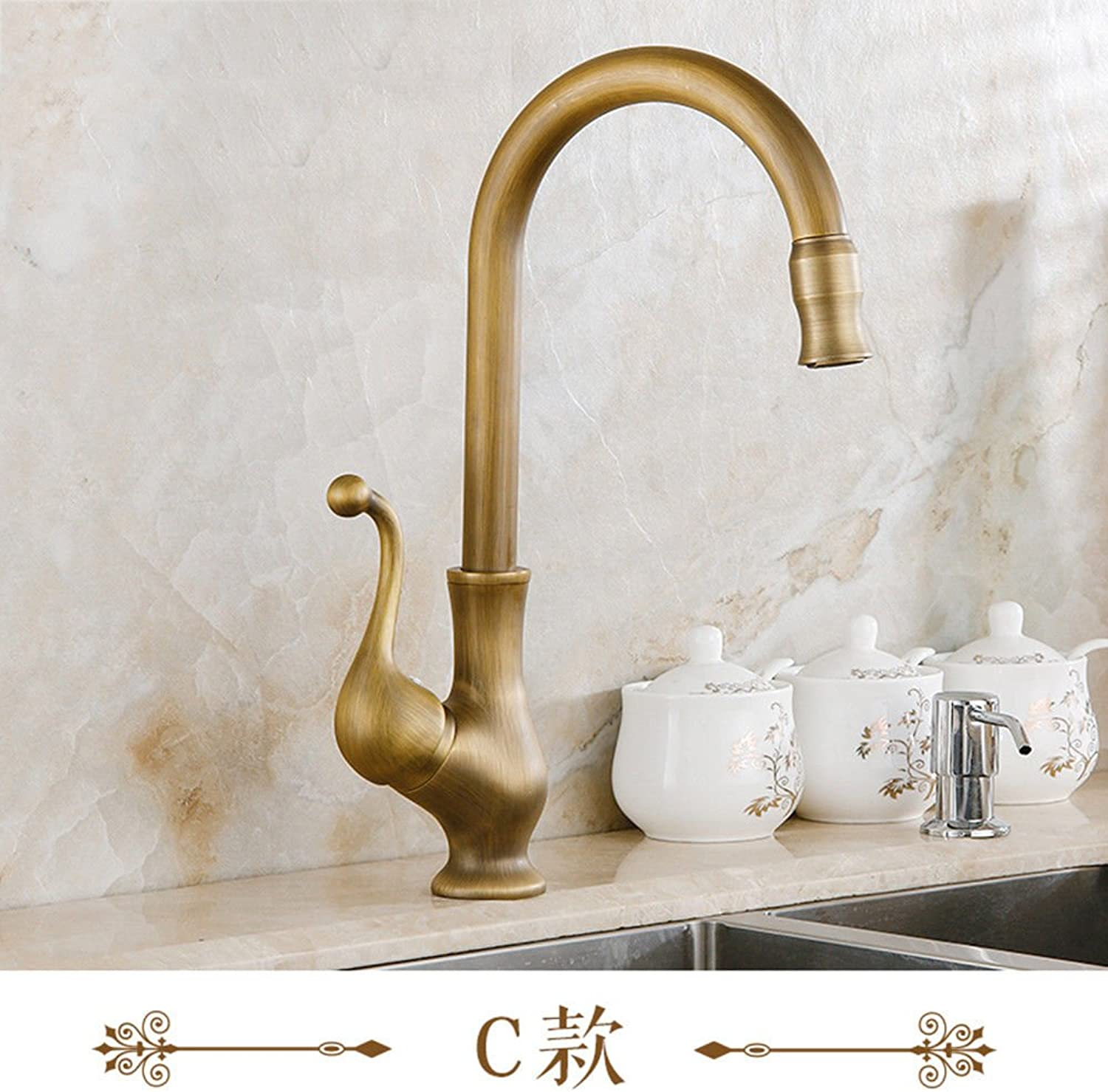 Lpophy Bathroom Sink Mixer Taps Faucet Bath Waterfall Cold and Hot Water Tap for Washroom Bathroom and Kitchen Bronze Antique Hot and Cold Single Hole redatable C