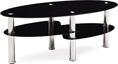 Amazon Com Flash Furniture Hampden Glass Coffee Table With Black