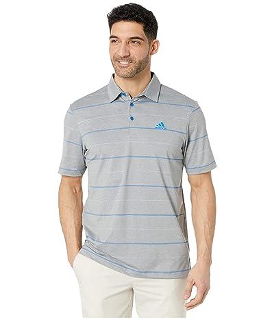 adidas Golf Ultimate365 Heathered Stripe Polo Shirt (Grey Three Melange/Purple Tint/Glory Blue) Men