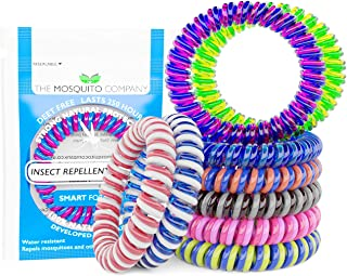 The Mosquito Company, Mosquito Repellent Bracelet's, 10 Insect repellent bands, Double Strength, Double Coil, 2019 3rd Generation, up to 250 hours of protection. No Deet, 64% PMD in a 10.8% Active Repellent solution