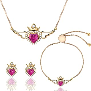 Menton Ezil Butterfly Wings Birthstone Pendant Necklace and Earrings Jewelry Set for Women 18K Rose Gold Plated with Cryst...