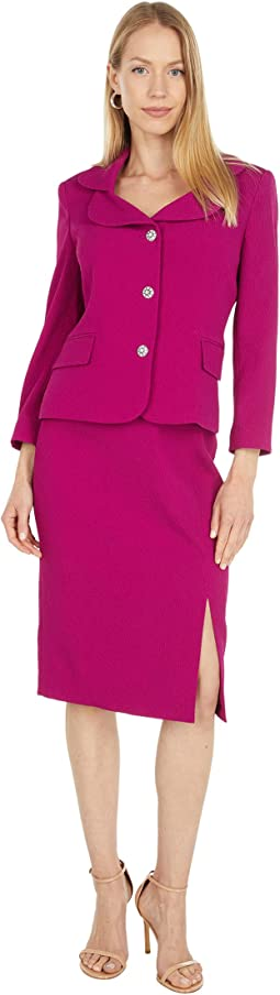 Two-Piece Nested Suit with Double Collar Jacket and Slim Skirt