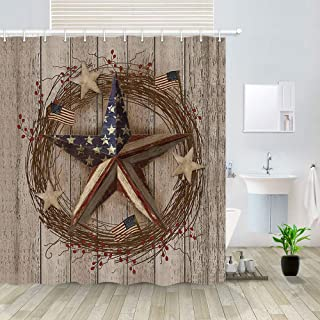 NYMB Country Primitive Barn Star Shower Curtain, Patriotic Barn Star On Country Wooden Board Bathroom Curtains, Fabric Americana Decor Shower Curtains Bathroom Accessories with 12Pcs Hooks,69X70In