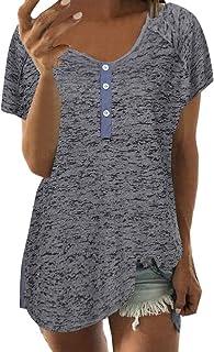 YEBIRAL Damen T-Shirt Sommer Top V Ausschnitt Kurzarm Knopfleiste Bluse Oberteil Lässig Große Größe Basic Lose Tunika Tops