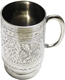 PARIJAT HANDICRAFT Unique Tankard Look - Handmade 100% Pure Brass Beer Stein -18 oz – Ice Cold Beer, Moscow Mules Mugs,