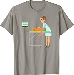 Veterinarian woman girl lady cat graphic doctor shirt